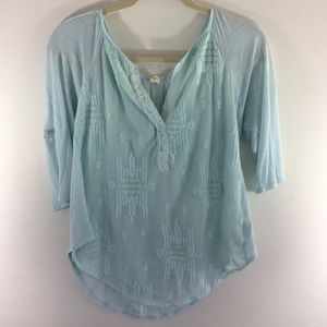 Tiny Anthropologie mint green embroidered henley